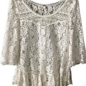 Free People Cream Lace Tunic Blouse Size Large